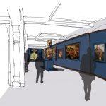 """<span class=""""deutsch"""">Skizzen Ausstellungsraum</span><span class=""""englisch"""">sketches for the exhibition hall</span>"""