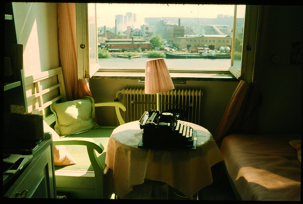 Apartment of Nelly Sachs, with her typewriter, in Stockholm, Sweden. Gewerk.com image.