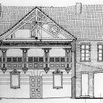 "<span class=""deutsch"">Synagoge als Bauensemble Ende des 17. Jahrhunderts von den Dänen errichtet – Bauplanzeichnung</span><span class=""englisch"">synagogue as part of the architectural ensemble, built at the end of the 17th century by the Danes – construction drawing</span>"