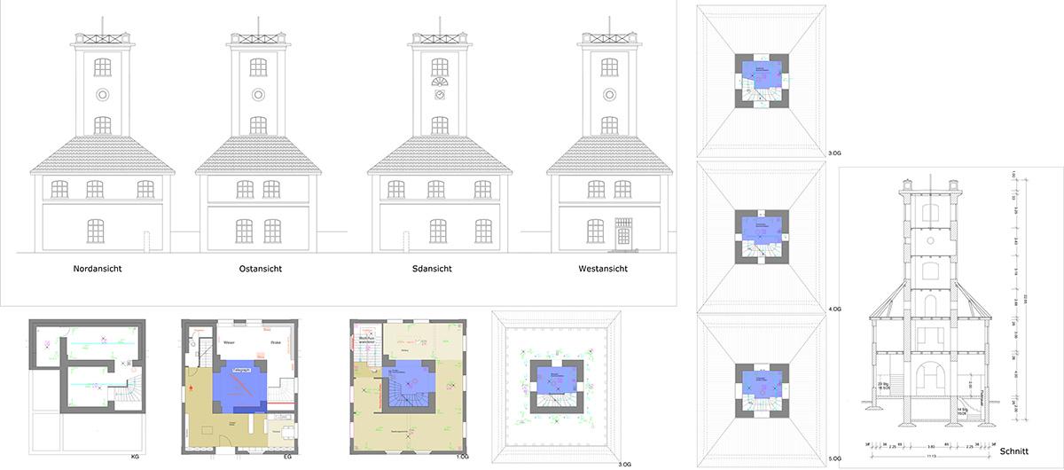 Schnitt und Grundriss Gebäude Brake