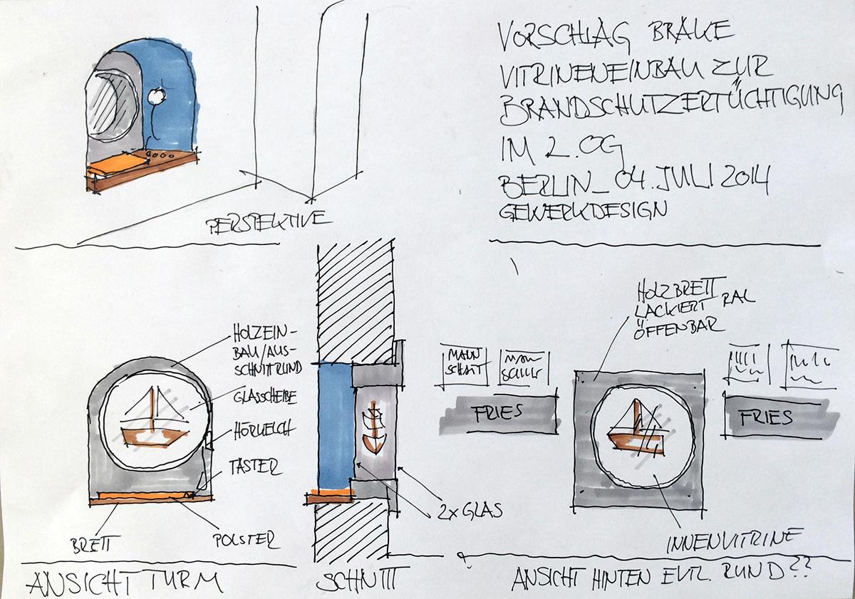 Skizze Einbauvitrine