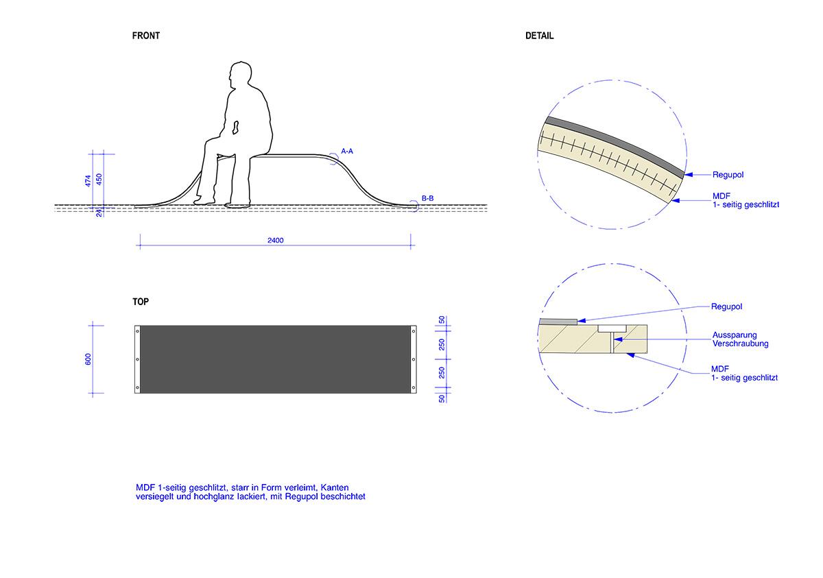 Technische Zeichnung Sitzelement