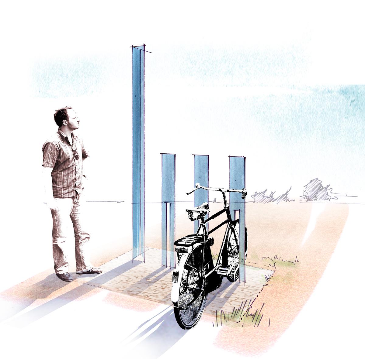 Erste Entwurfsidee mit Fahrradständer