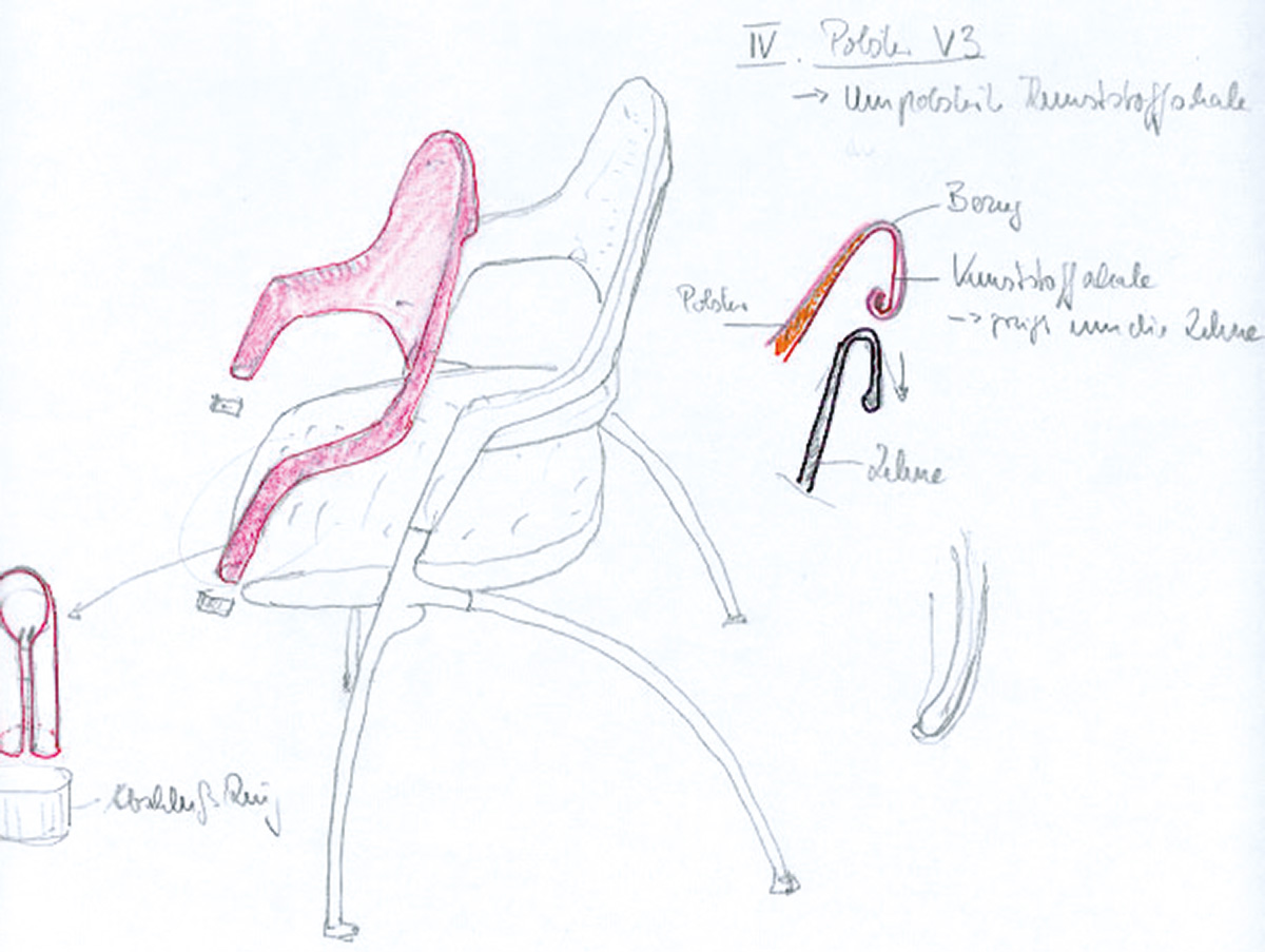 Zeichnung Detail Rückenlehne