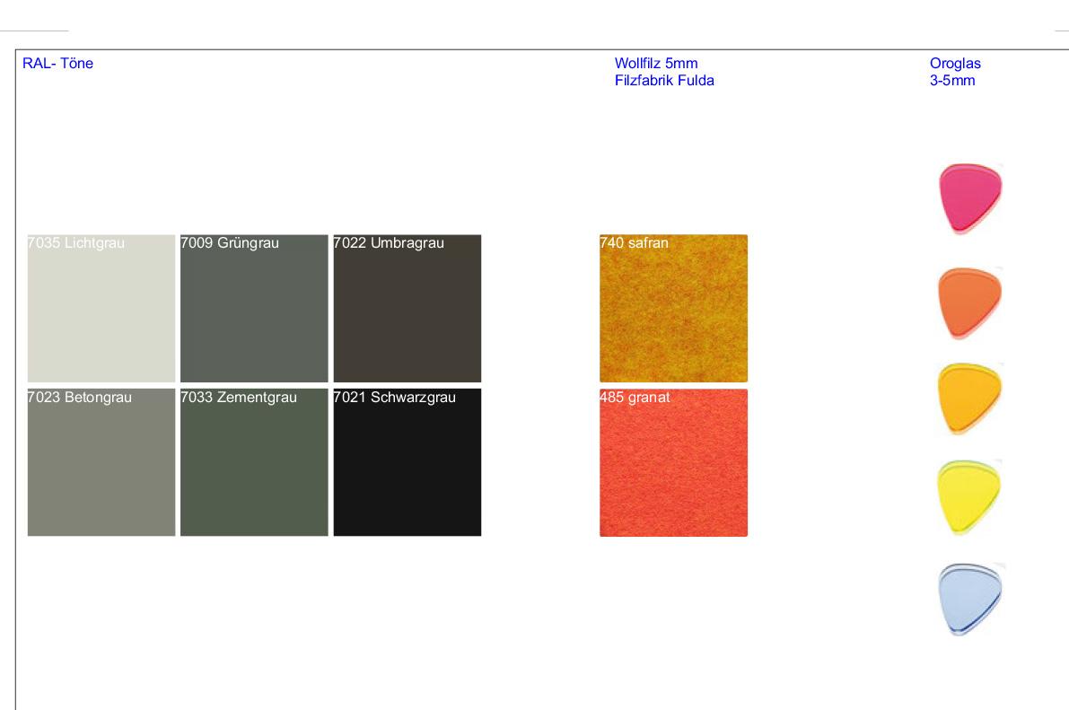 Übersicht Farben und Materialien