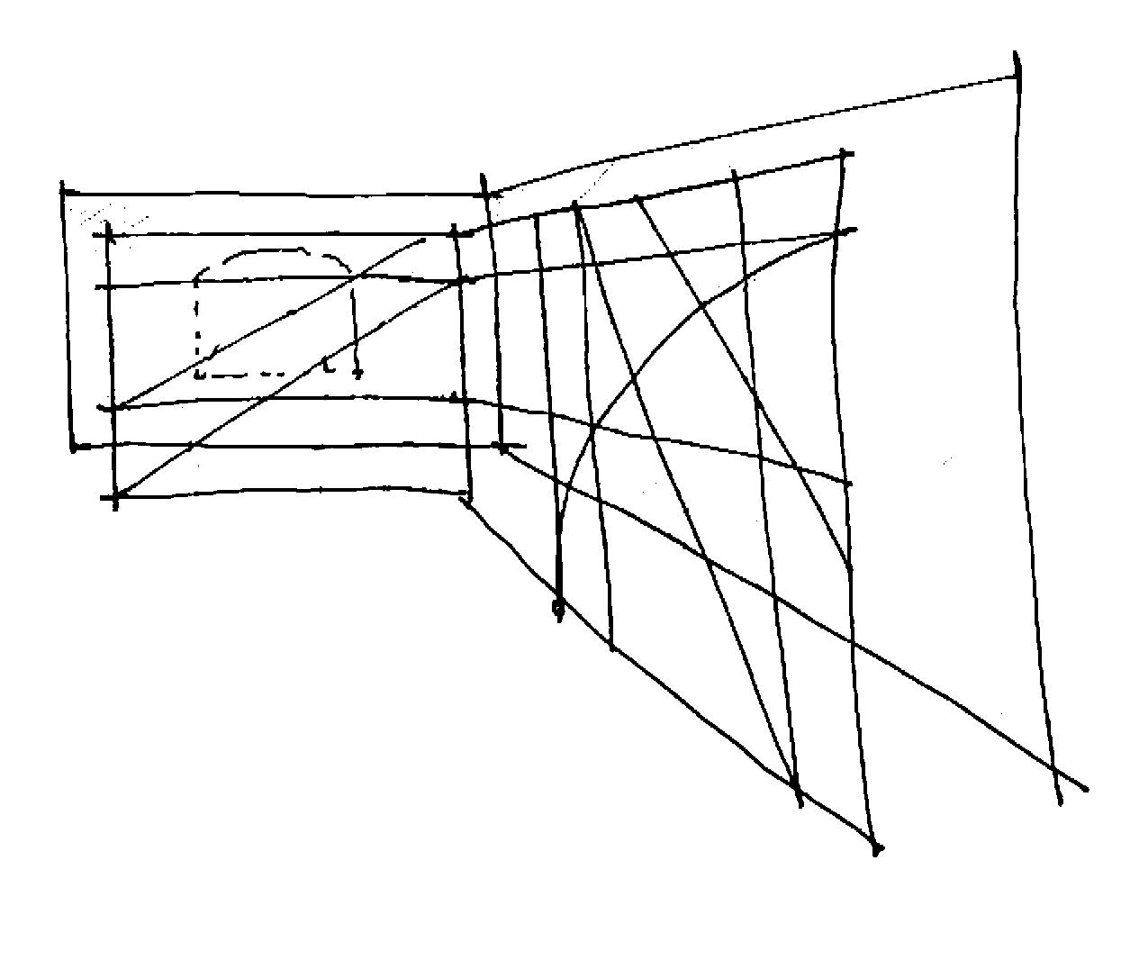 Entwurfsskizze Raumgestell
