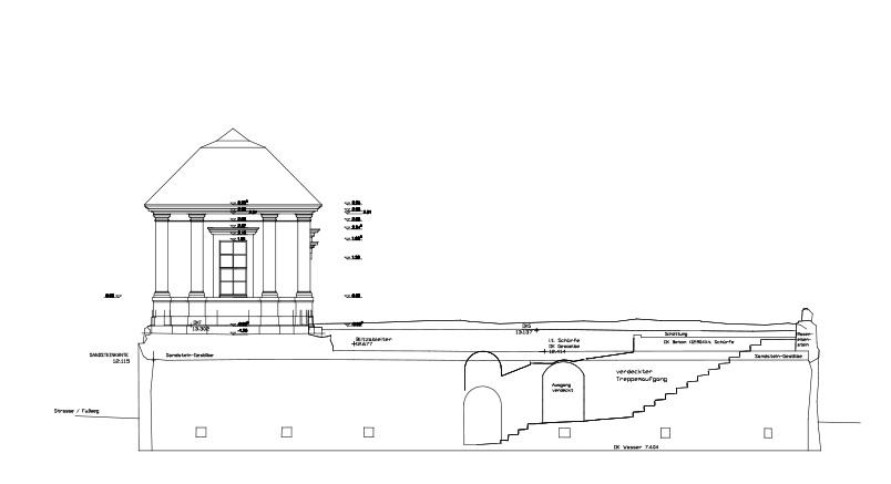 Seitenansicht des Südseepavillons