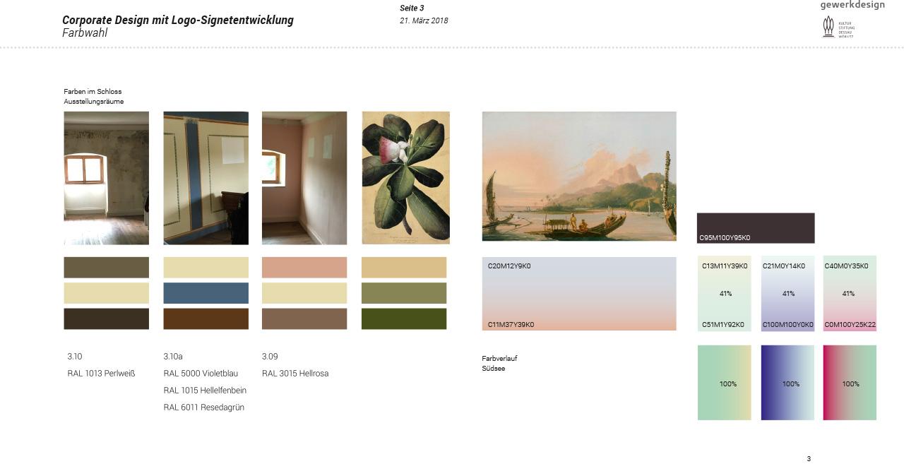 Auszug aus dem Grafik Manual der Ausstellung: Thema Farbspektrum