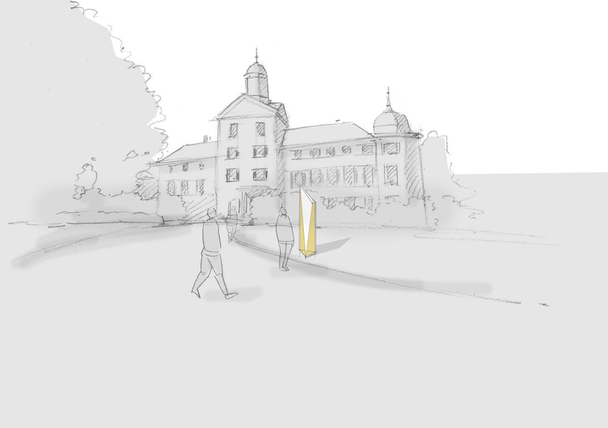 Illustration Schloss mit Außenstele