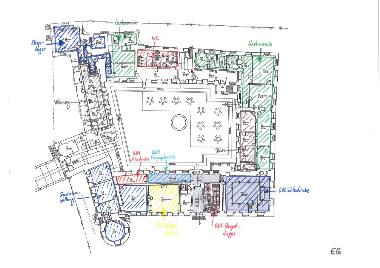 Grundriss mit Raumnutzungskonzept
