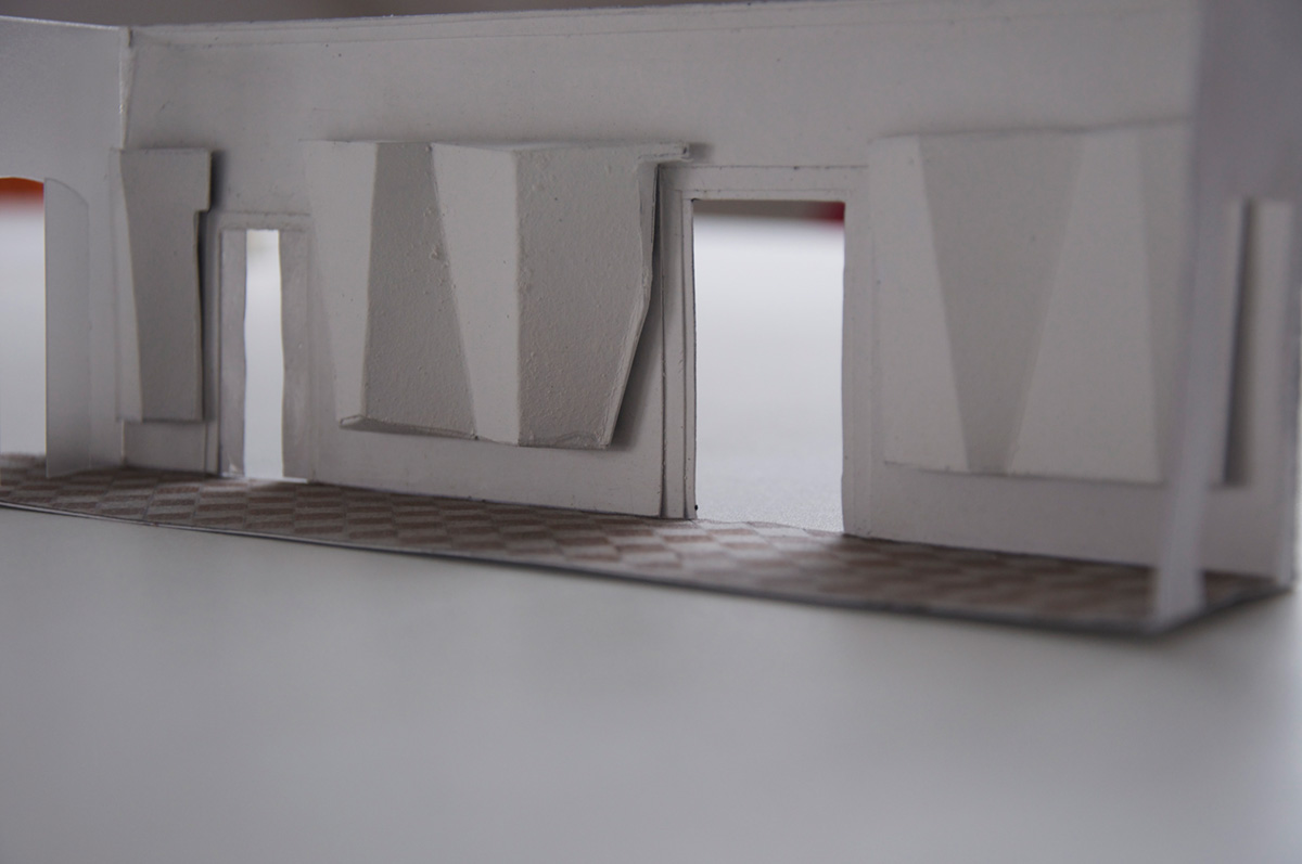 "<span class=""deutsch"">Modell Entwurf Eingangsbereich mit Multivisionswand</span><span class=""englisch"">design model of the entrance area with screens</span>"