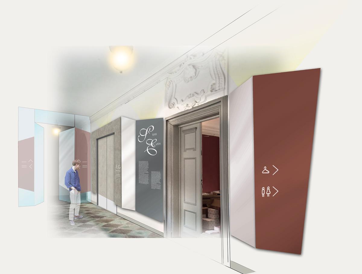 Rendering Variation Entwurf Eingangsbereich mit Multivisionswand