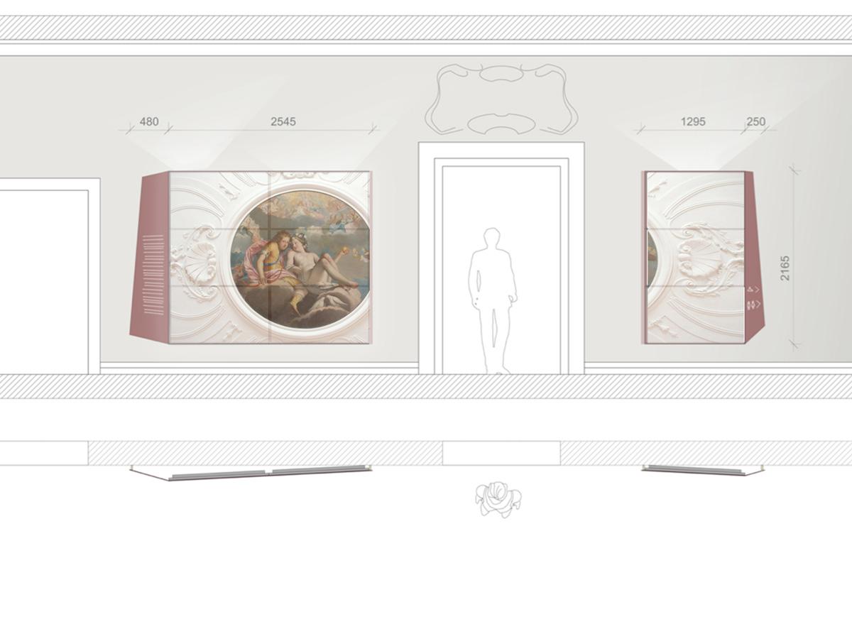 Rendering Entwurf Eingangsbereich mit Multivisionswand mit Filmanmutung