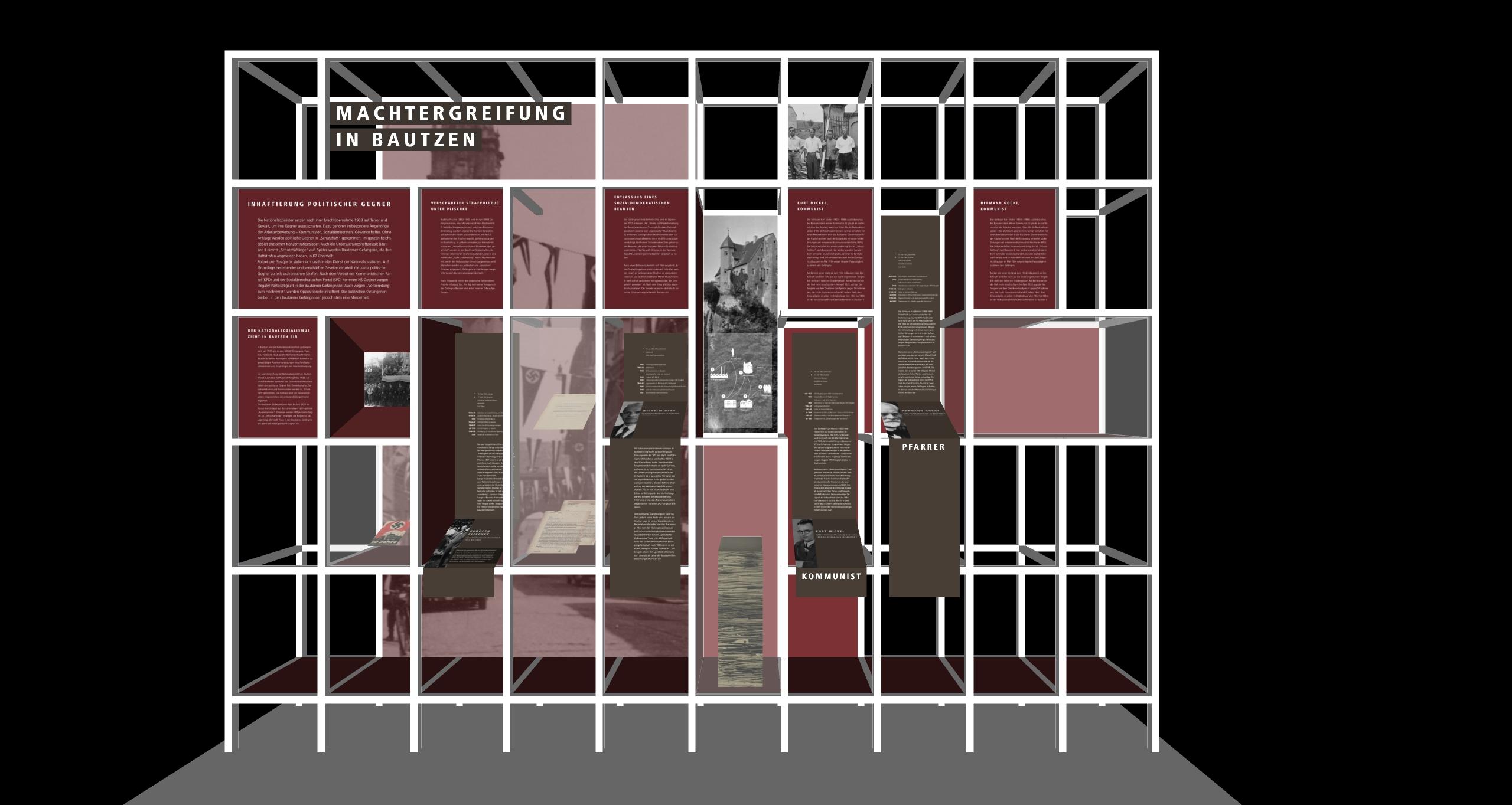 Wandabwicklung der Ausstellung Haft unterm Hakenkreuz