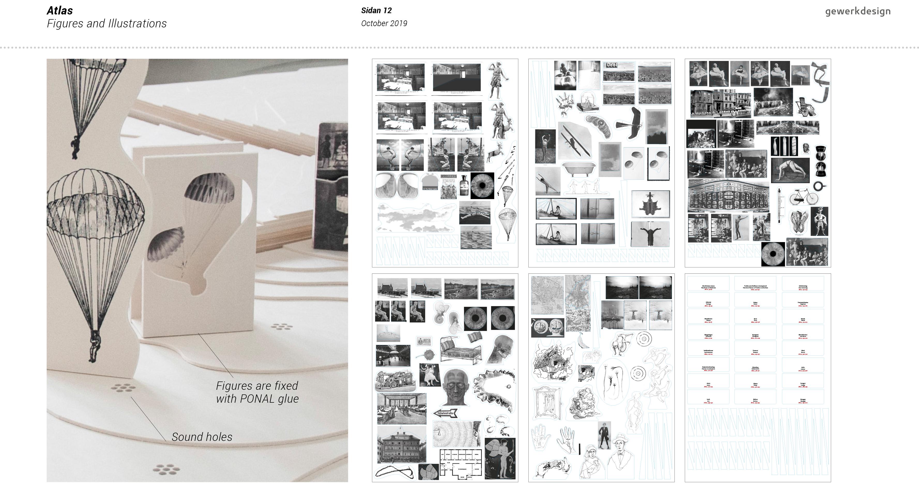 Produktion aller Bildvorlagen im Digitaldruck auf Finnpappe mit anschliessender Fräsung