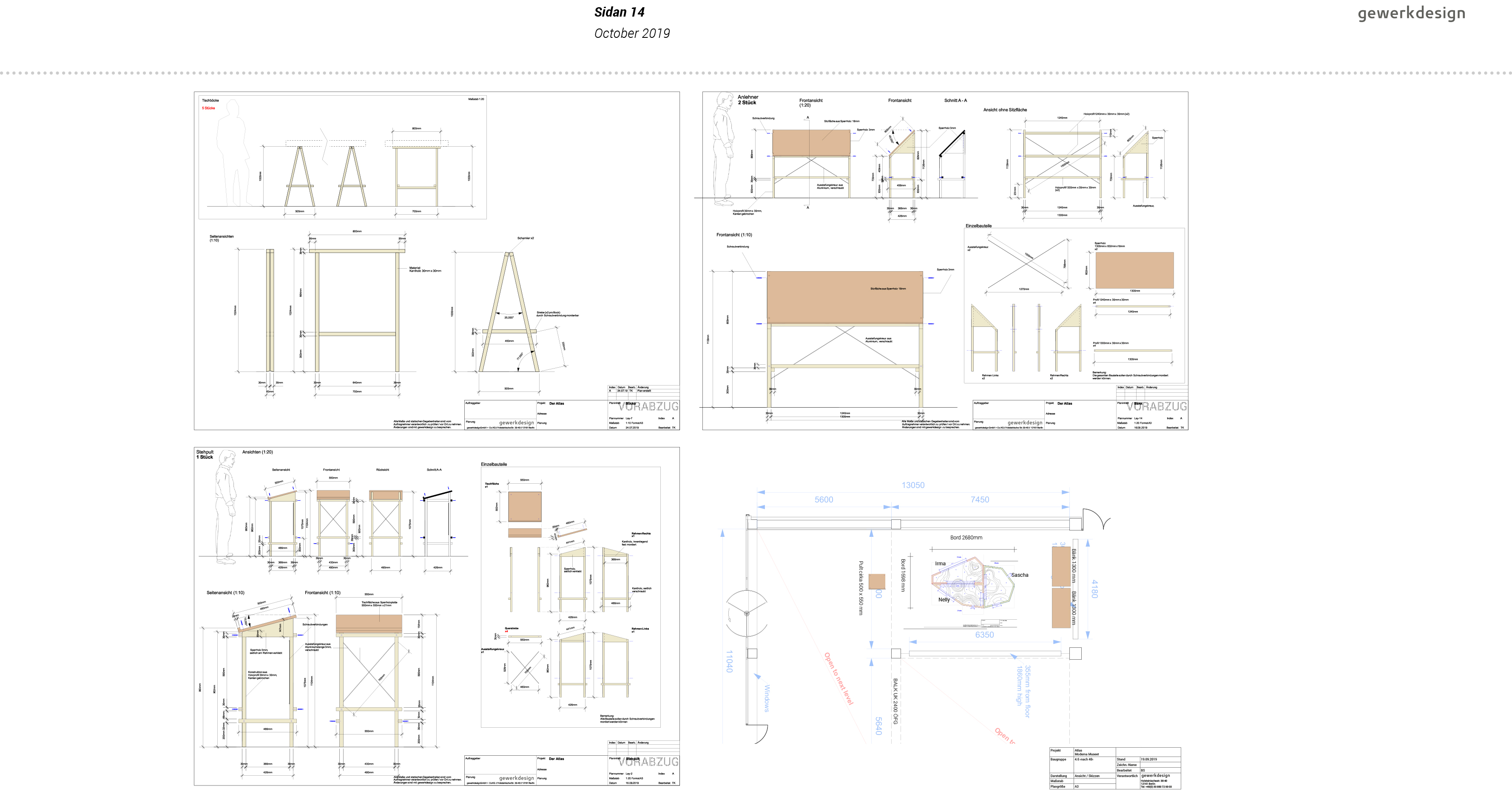 Technische Zeichnungen weiterer Möbel der Installation: Sitzbänke und Lesepult