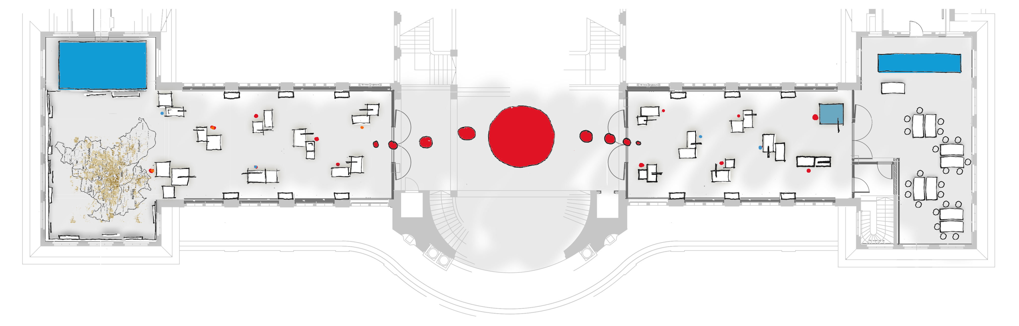 Grundriss des Museums: rechts und links des Foyers