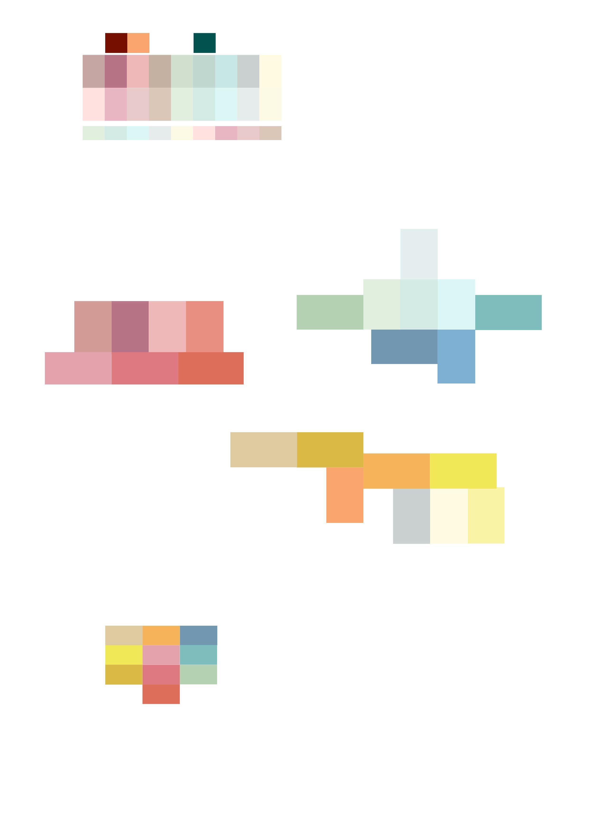 Zusammenstellen von Farbfamilien für die Vitrinengläser