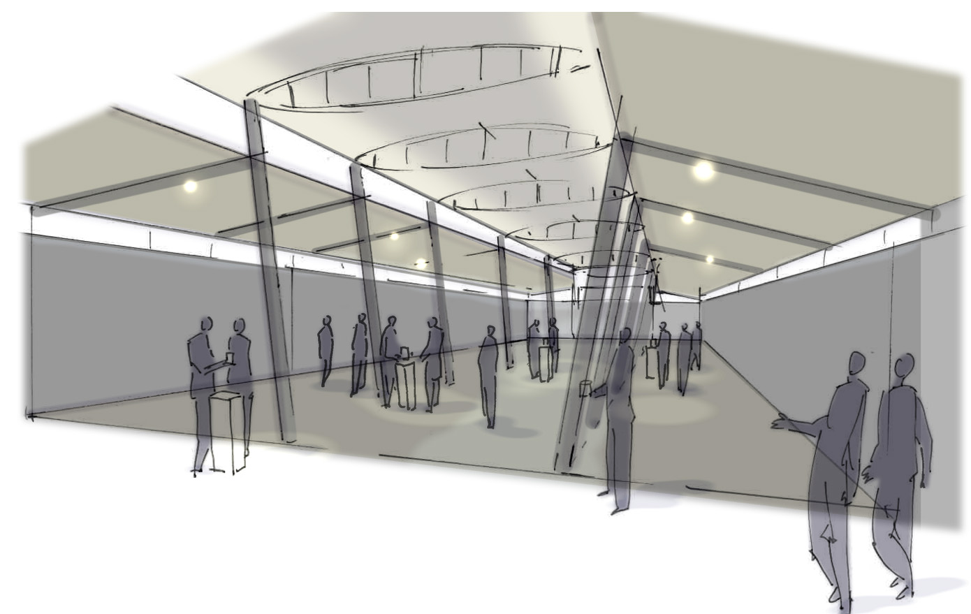 "<span class=""deutsch"">Ausstellungshalle mit Besuchern_Entwurfsskizze</span><span class=""englisch"">exhibition hall with visitors_design sketch</span>"